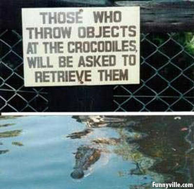 Funny crocodile sign