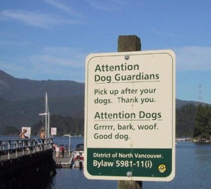 Funny sign for dogs and owners