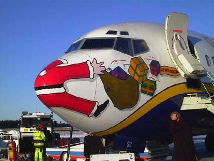 Santa Clause run over by plane